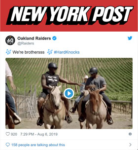 Raiders' horseback riders steal show in 'Hard Knocks' premiere